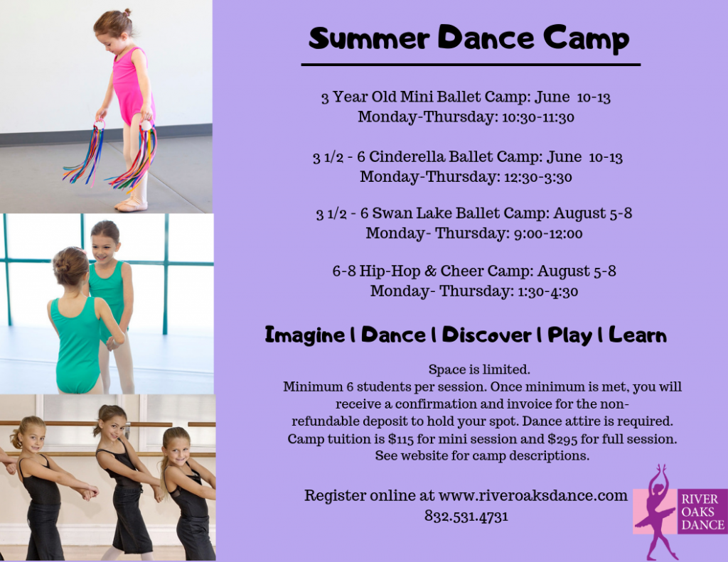 Don't forget to sign up for Summer Dance Camp for ages 3-8!